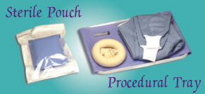 Brecon Knitting Mill, Tubular Knitted Stockinets, Sterile Pouch, Procedural Tray